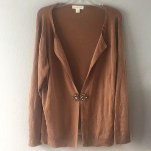 Coldwater Creek-Brown Open Cardigan-Silk/Cotton-1X